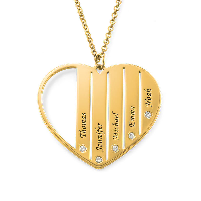 Mum Necklace in Gold Plating with Diamonds - 1