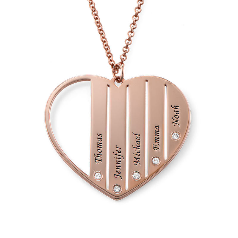 Mum Necklace in Rose Gold Plating with Diamonds