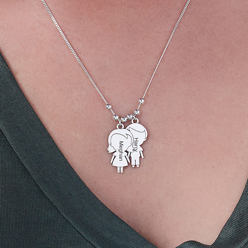 Mum Necklace with Children Charms in Sterling Silver Sterling - 3