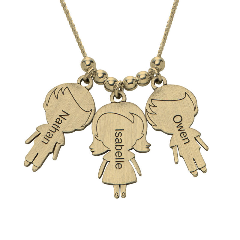 Mum Necklace with Children Charms in Gold Plating