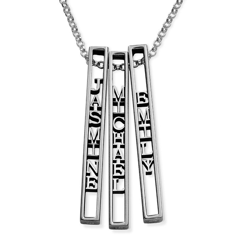 Personalised 3D Bar Necklace in Sterling Silver - 2