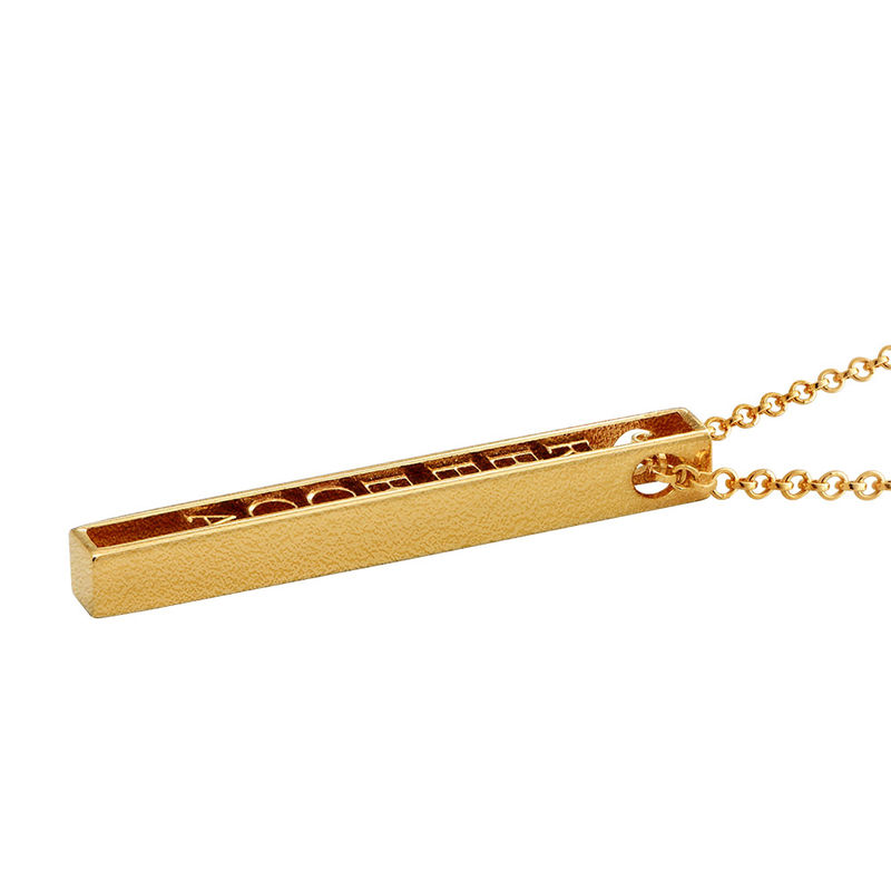 Personalised 3D Bar Necklace with 18ct Gold Plating - 1