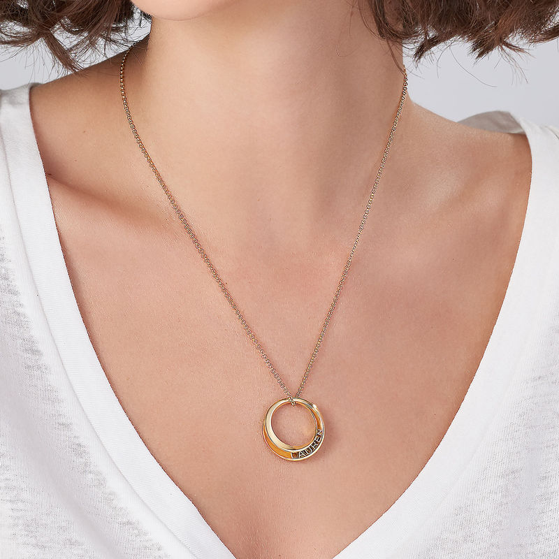 Personalised 3D Circle Necklace with Gold Plating - 3