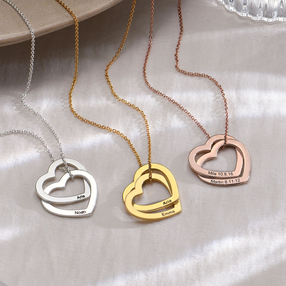 Interlocking Hearts Necklace with 18ct Rose Gold Plating - 1