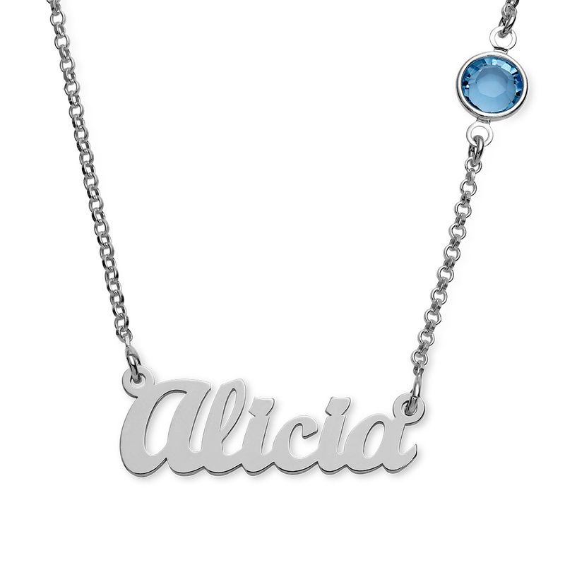 Name Necklace in Silver with One Stone