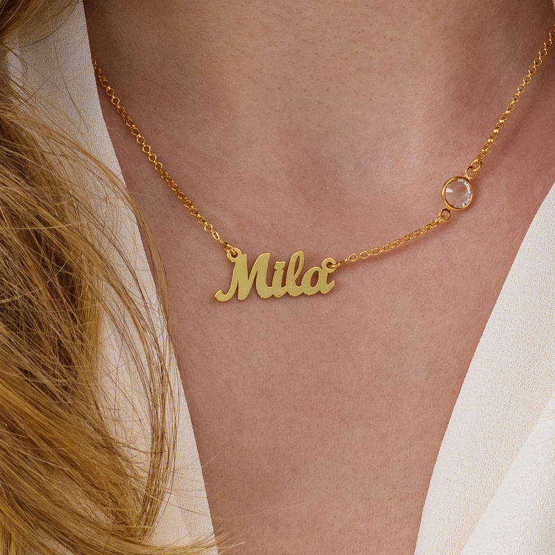 Name Necklace in Gold Plating with One Stone - 2