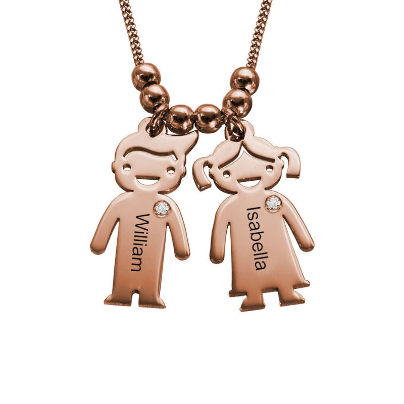 Kids Charms Mother Necklace in Rose Gold Plating with Diamond