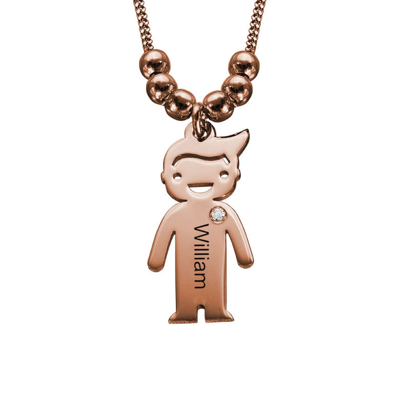 Kids Charms Mother Necklace in Rose Gold Plating with Diamond - 1