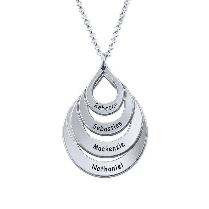 Engraved Family Necklace - Four Drops