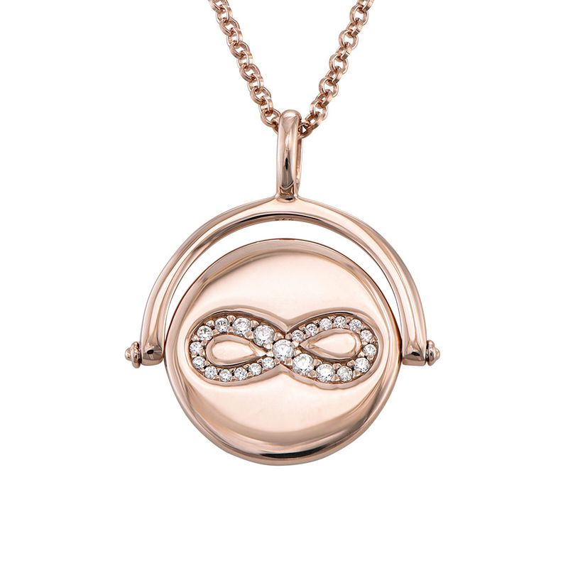 Spinning Infinity  Pendant Necklace in Rose Gold Plating