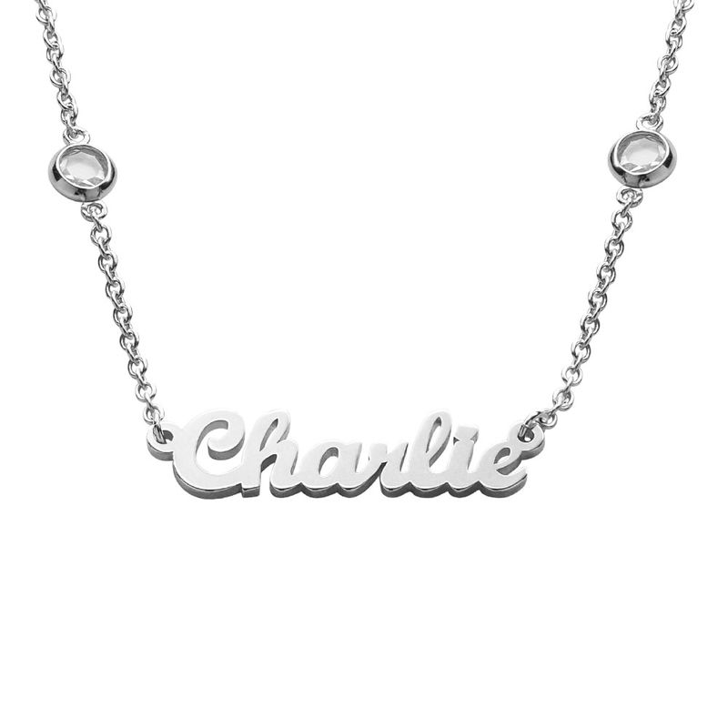 Name Necklace with Clear Crystal Stone in Silver