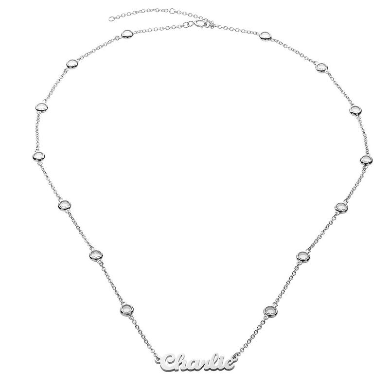 Name Necklace with Clear Crystal Stone in Silver - 1