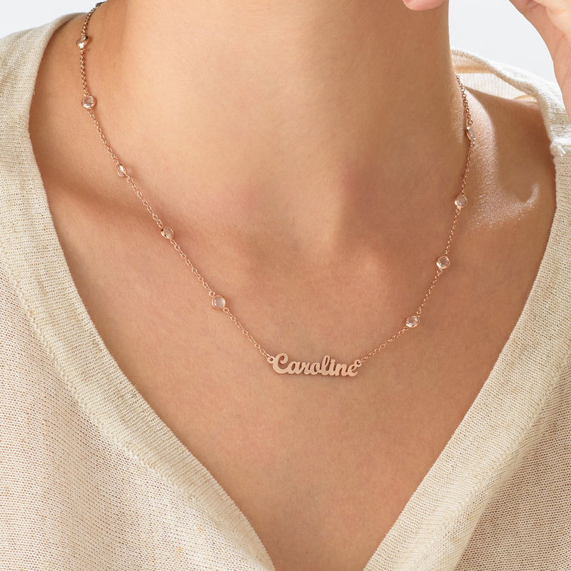 Name Necklace with Clear Crystal Stone  in Rose Gold Plating - 3
