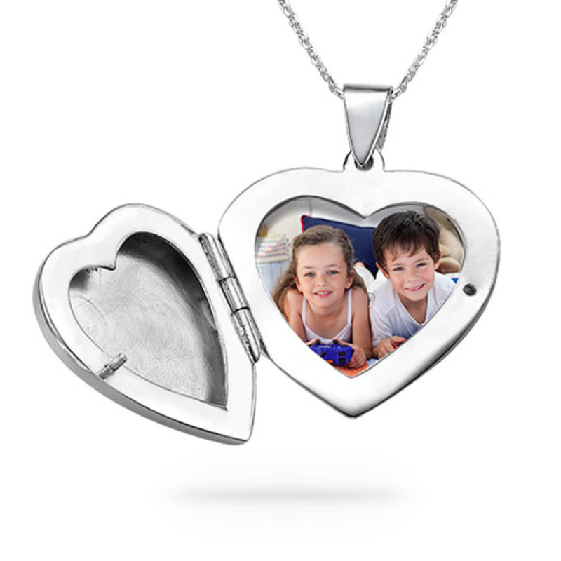 Sterling Silver Engraved Heart Locket Necklace - 1