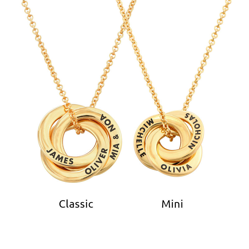 Russian Ring Necklace in Silver Gold Plated - 3D Design - 3