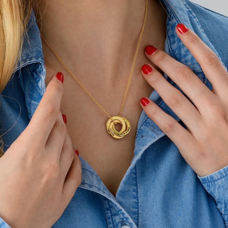 Russian Ring Necklace in Silver Gold Plated - 3D Design - 5