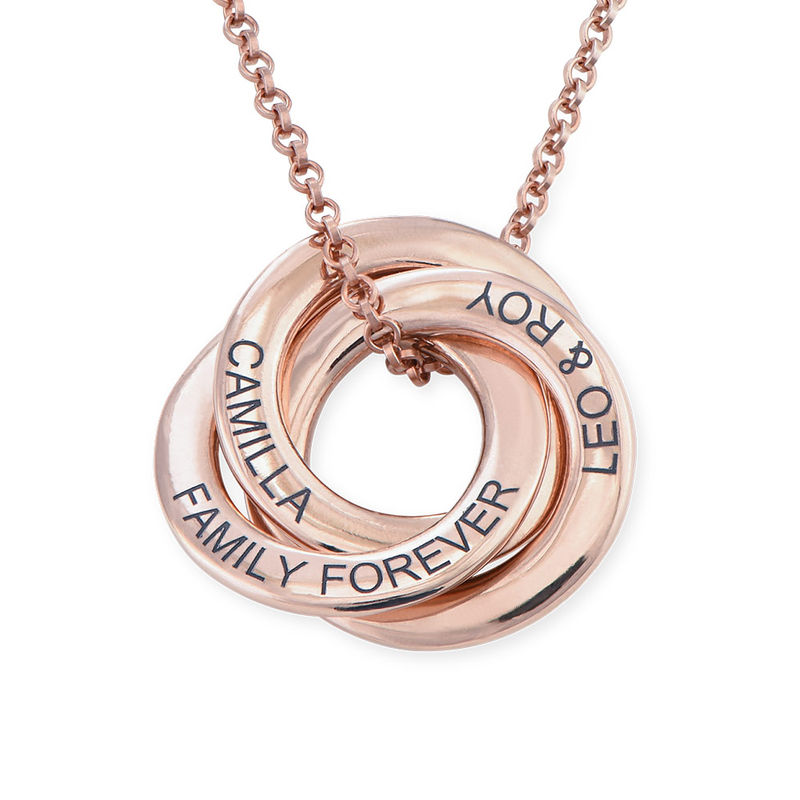 Russian Ring Necklace in Silver Rose Gold Plated - 3D Design