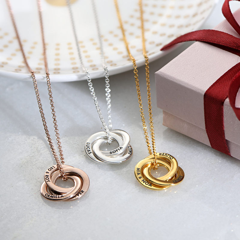 Russian Ring Necklace in Silver Rose Gold Plated - 3D Design - 2
