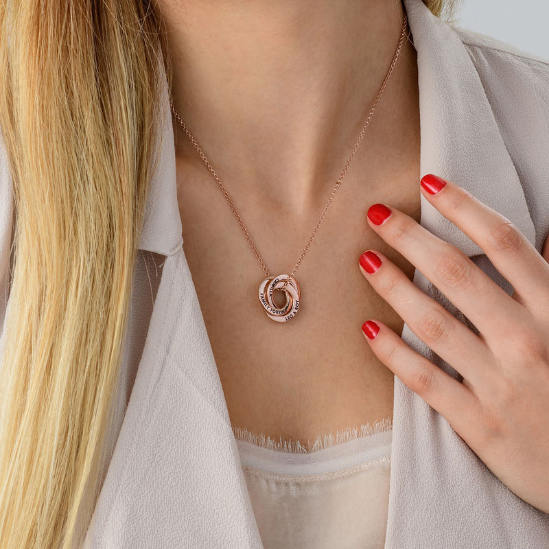 Russian Ring Necklace in Silver Rose Gold Plated - 3D Design - 5