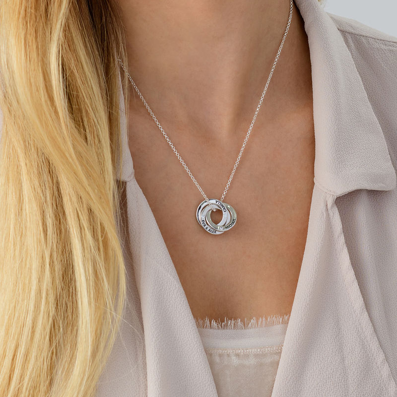 Russian Ring Necklace in Silver with Cubic  Zirconia Stones - 3