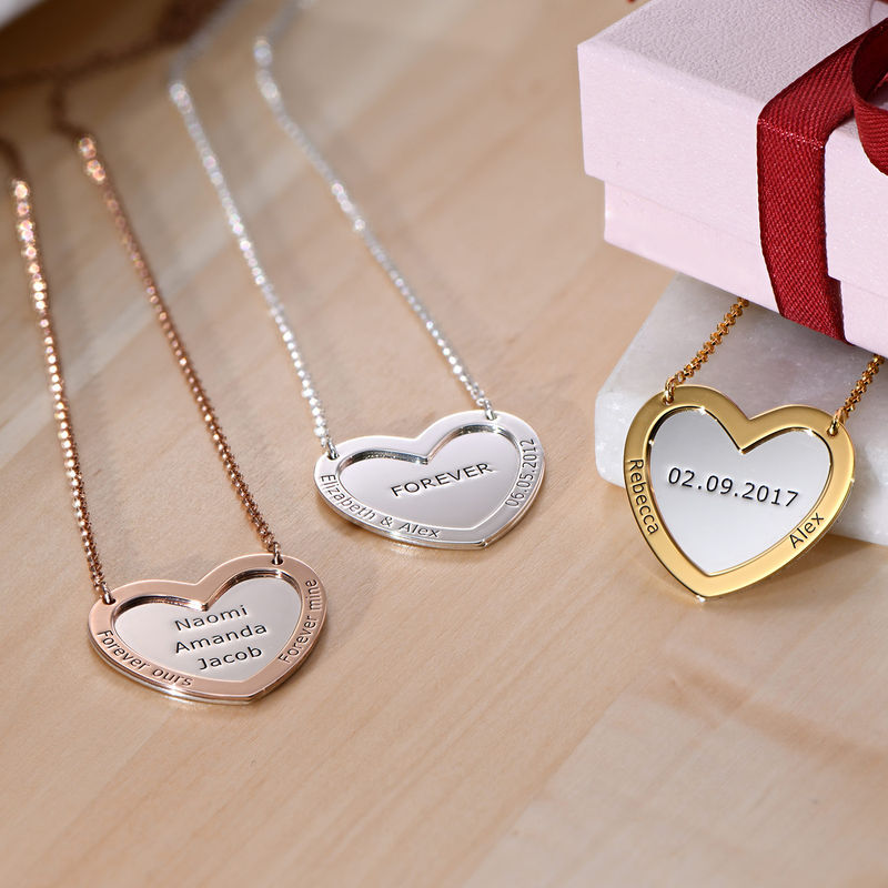Double Heart Necklace in Silver - 1