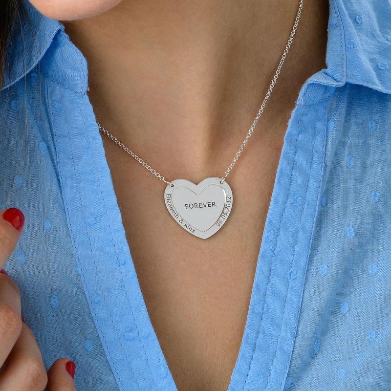 Double Heart Necklace in Silver - 3