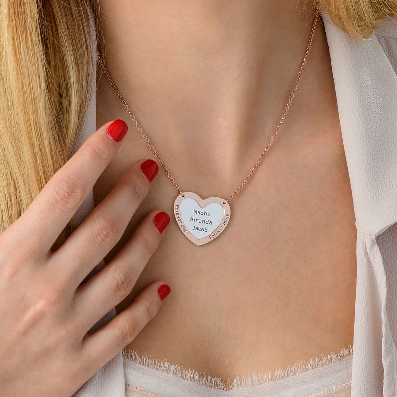 Double Heart Necklace in silver and Rose Gold Plated - 3