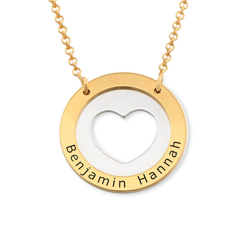 Circle Heart Necklace in Silver and Gold Plated