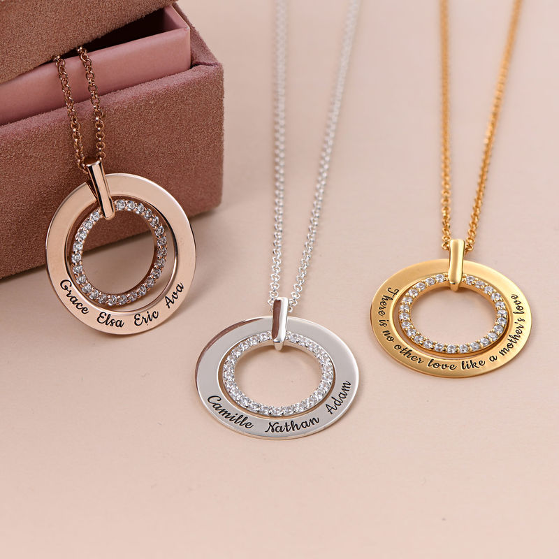 Engraved Circle Necklace in Rose Gold Plating - 1