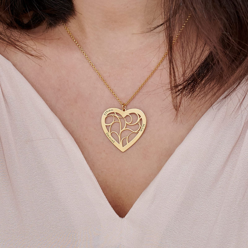 Heart Family Tree Necklace in Gold Plated - 3