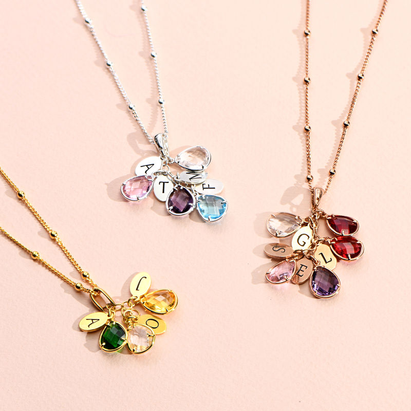 Custom Birthstone Drop Necklace for Mum in Gold Plating - 1