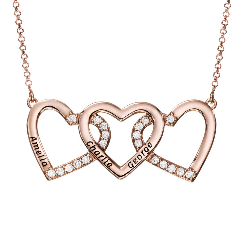 Engraved 3 Hearts Pendant Necklace in Rose Gold Plating