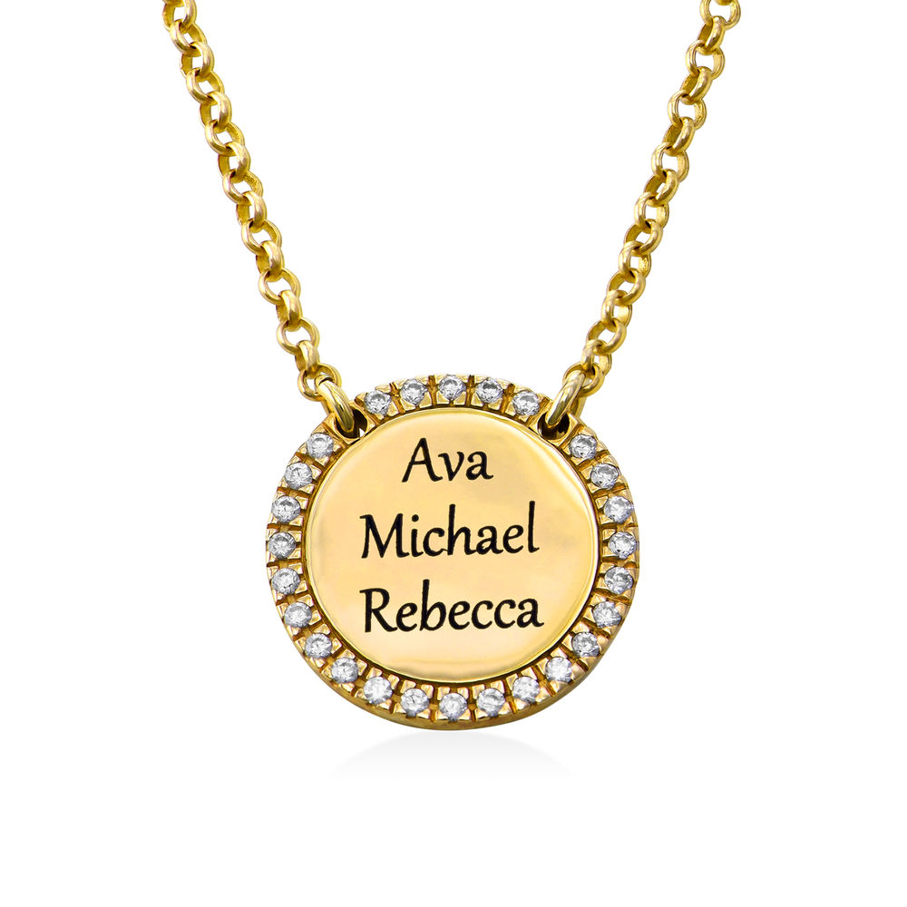 Personalised Round Cubic Zirconia Necklace in Gold Plating - 2