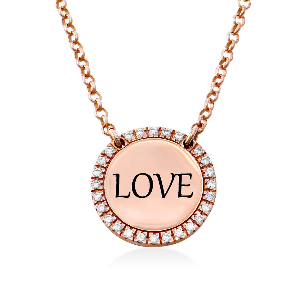 Personalised Round Cubic Zirconia Necklace in Rose gold Plating - 1