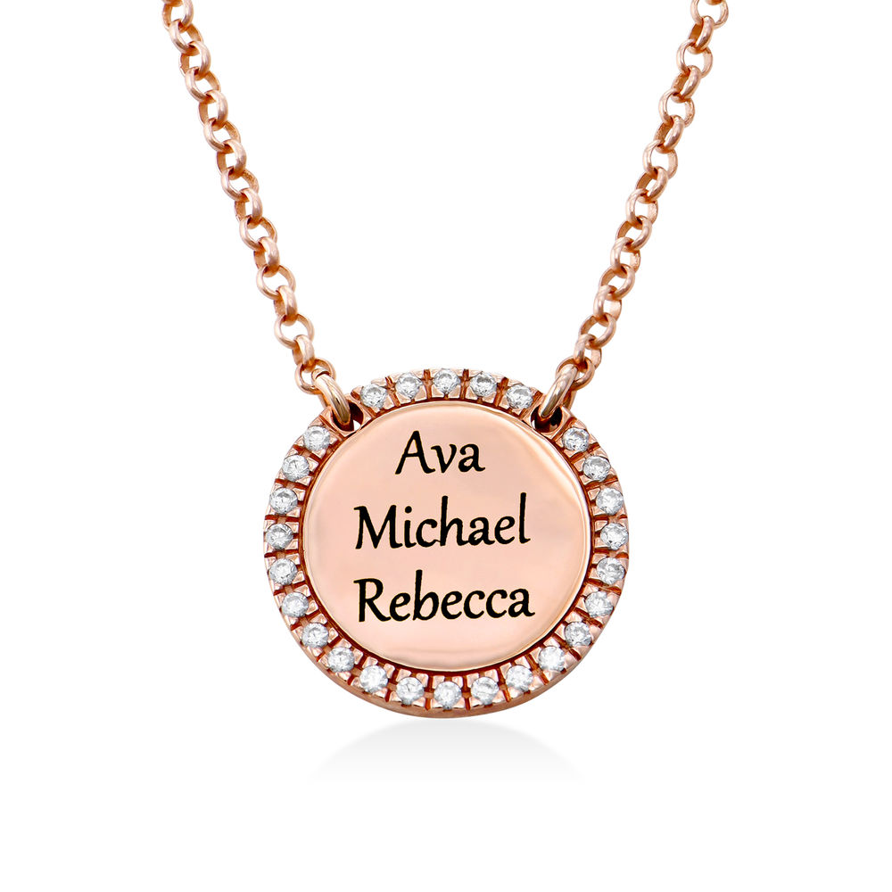 Personalised Round Cubic Zirconia Necklace in Rose gold Plating - 2