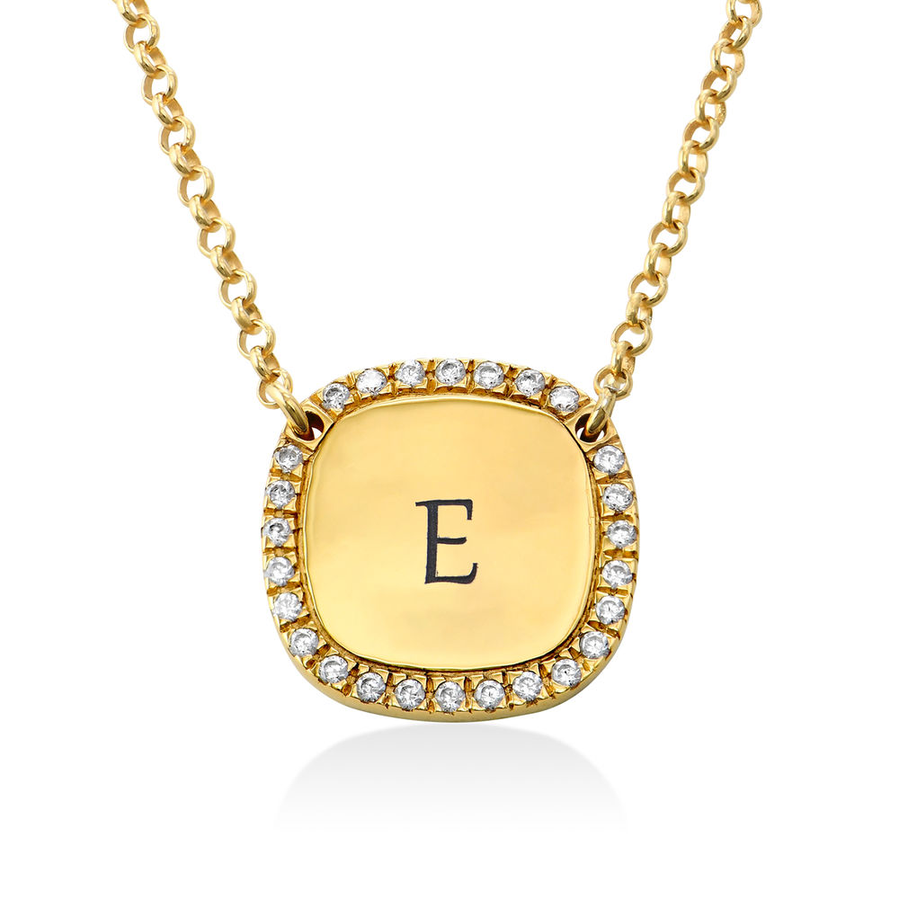 Personalised Square Cubic Zirconia Necklace in Gold Plating
