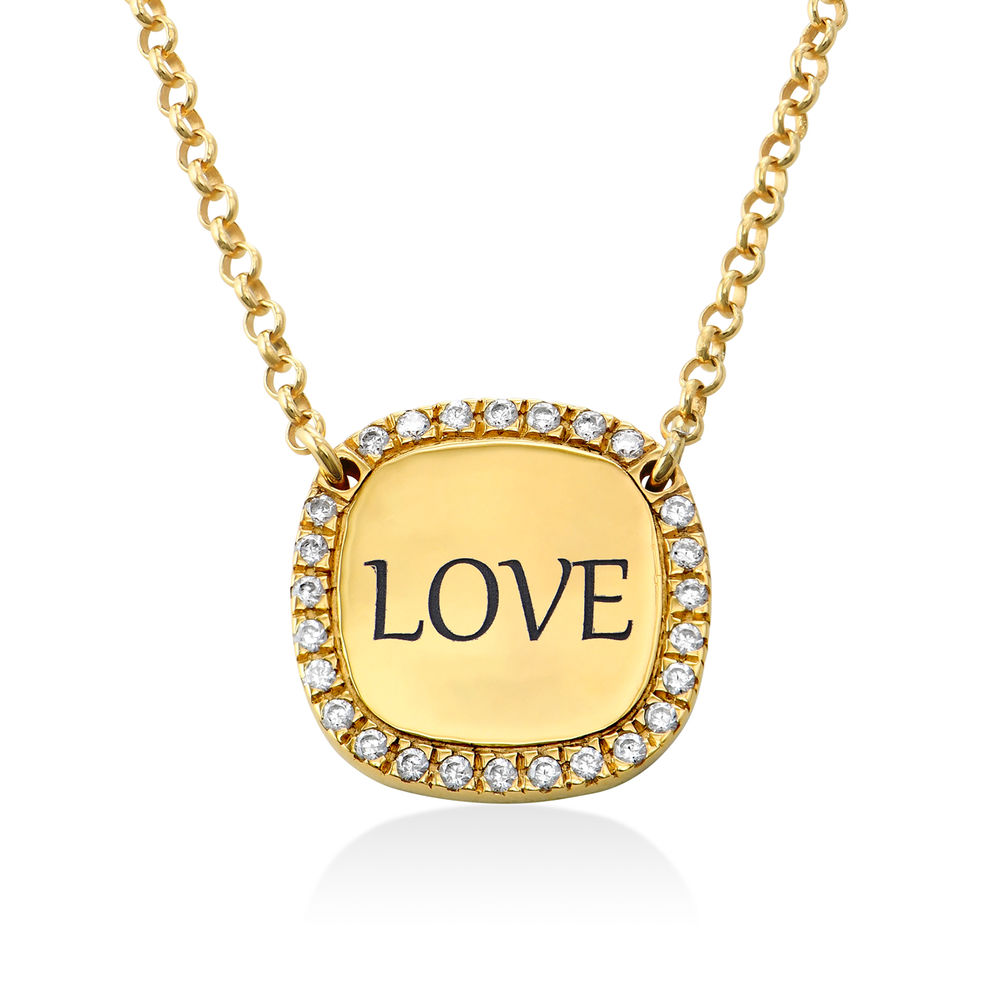 Personalised Square Cubic Zirconia Necklace in Gold Plating - 1
