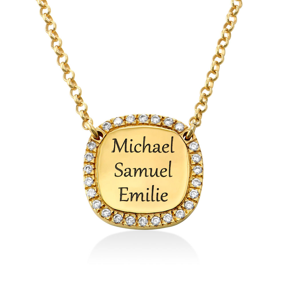 Personalised Square Cubic Zirconia Necklace in Gold Plating - 2