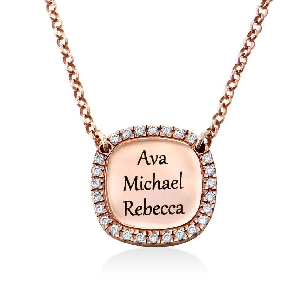 Personalised Square Cubic Zirconia Necklace in Rose Gold Plating - 2