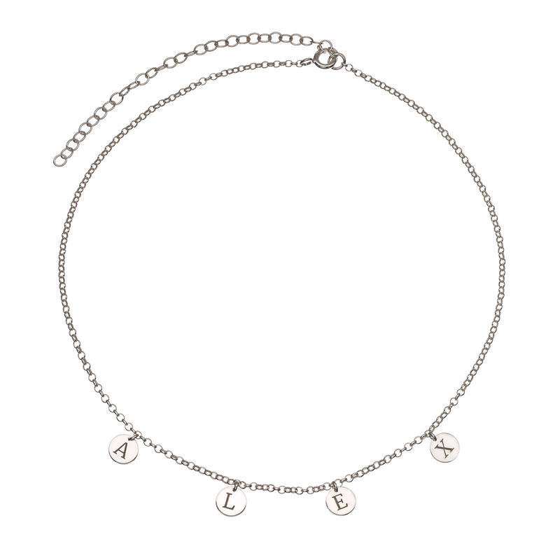 Initials Choker Necklace in Sterling Silver - 1