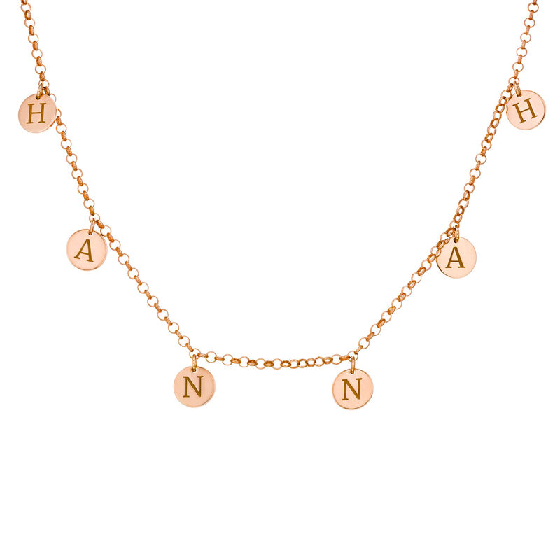 Initials Choker Necklace in Rose Gold Plating