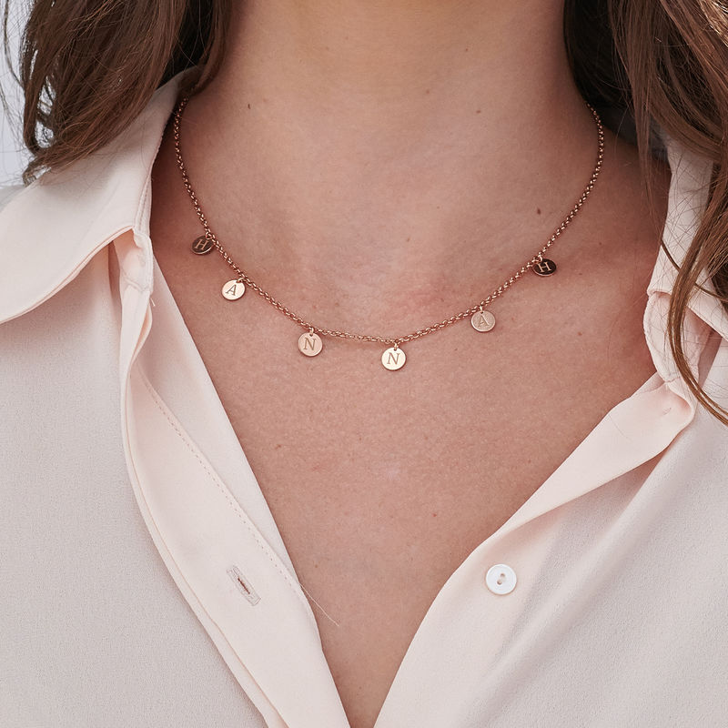 Initials Choker Necklace in Rose Gold Plating - 3