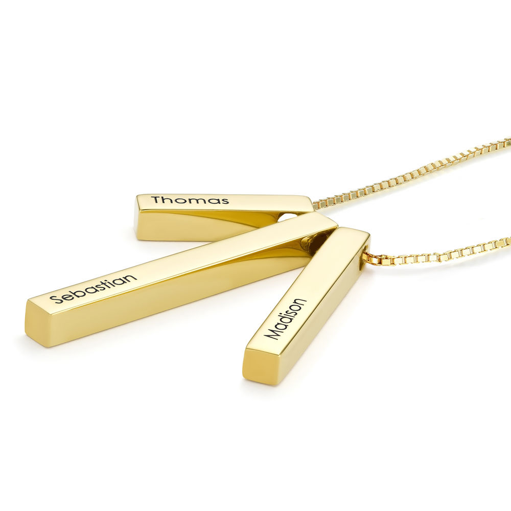 Engraved Triple 3D Vertical Bar Necklace in Gold Plating - 1