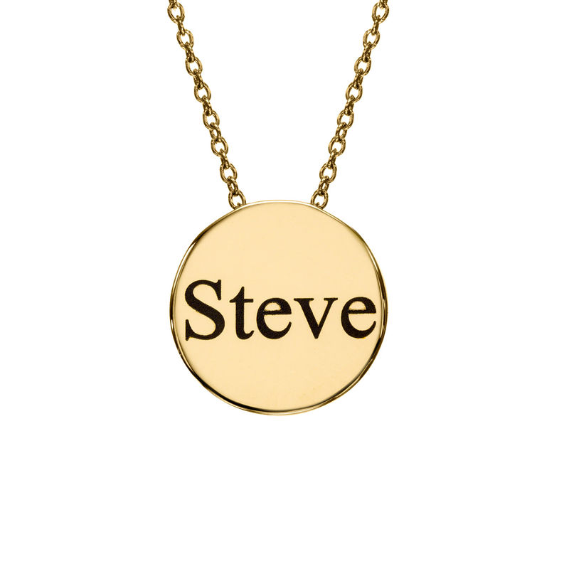 Custom Thick Disc Necklace in Gold Plating