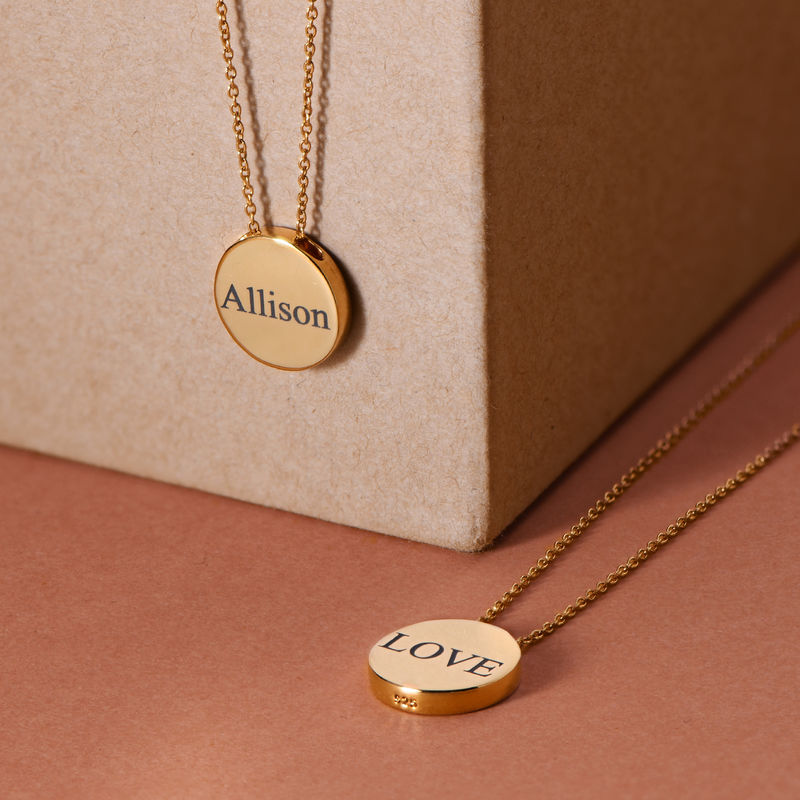 Custom Thick Disc Necklace in Gold Plating - 3