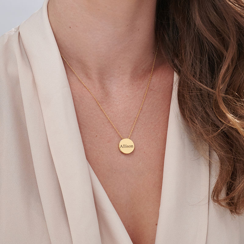 Custom Thick Disc Necklace in Gold Plating - 5