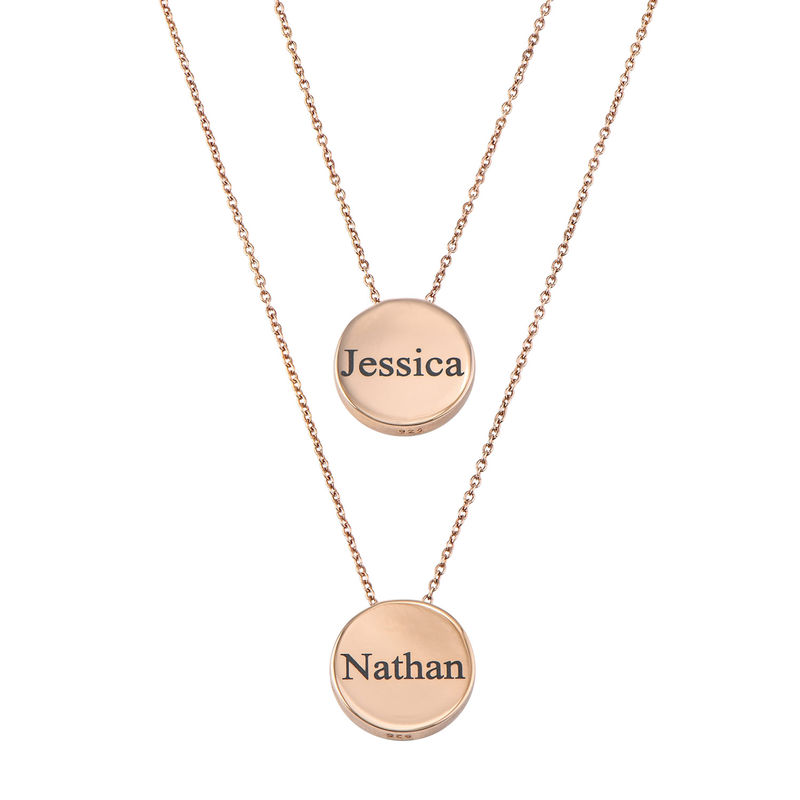 Custom Thick Disc Necklace in Rose Gold Plating - 2