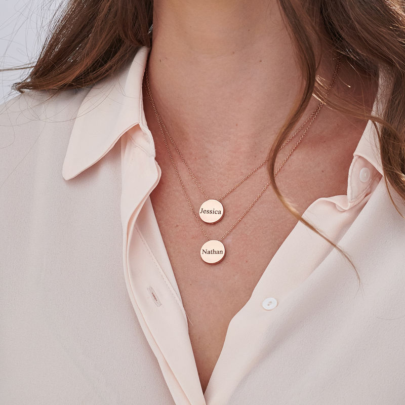 Custom Thick Disc Necklace in Rose Gold Plating - 7