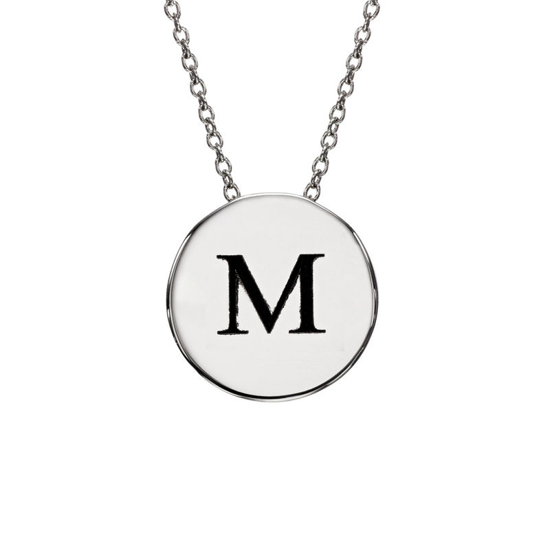 Initial Thick Disc Necklace in Sterling Silver