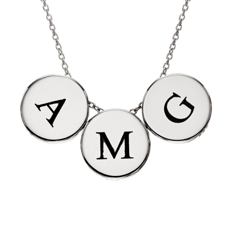 Initial Thick Disc Necklace in Sterling Silver - 1
